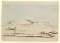 'Kulat i Ghilzie 14 April 1842.  S. View'. On reverse plans of bastions and gateways of Bukkur Fort